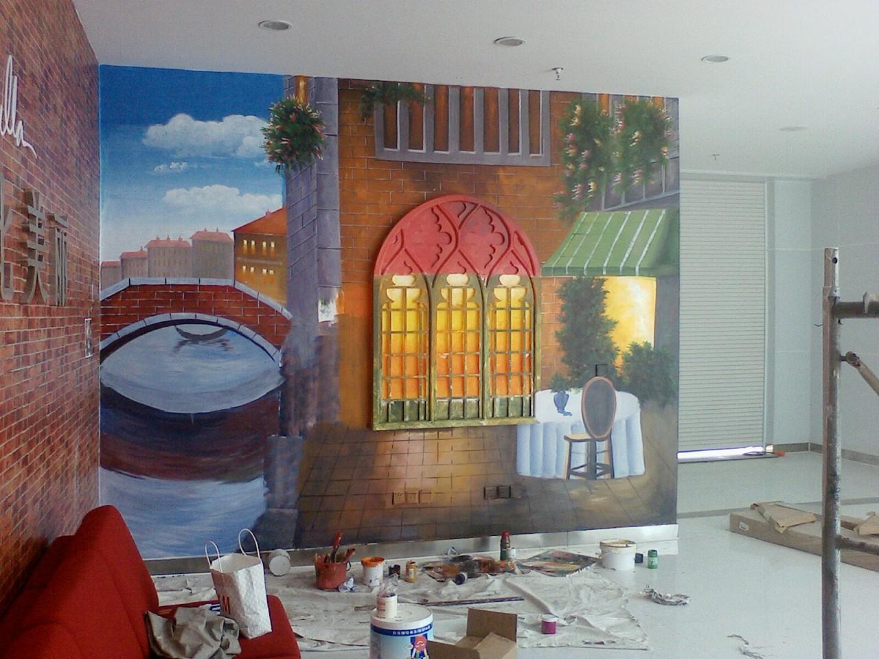 茶楼墙体彩绘